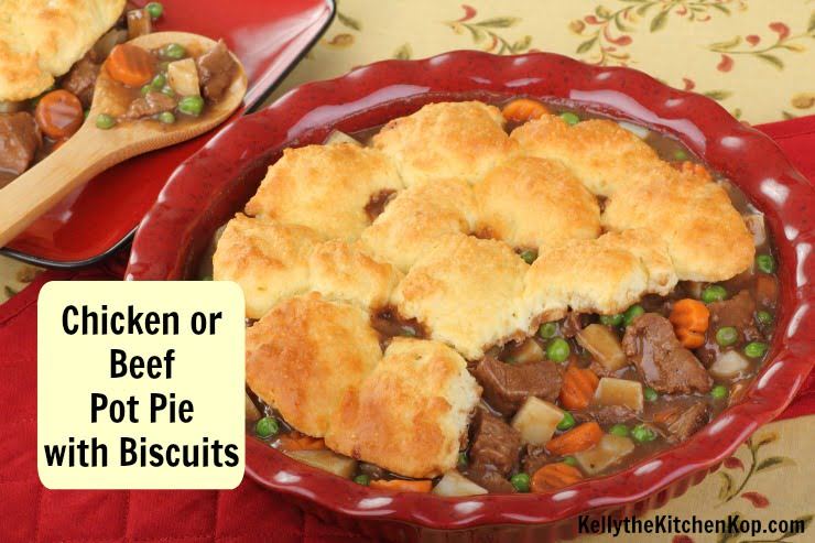 Beef Pot Pie with Biscuits