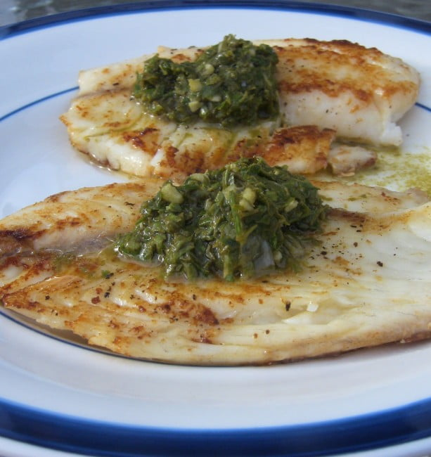 fish with pesto