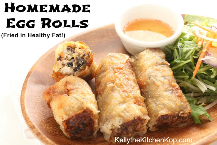 Homemade Egg Rolls Fried in Healthy Fat