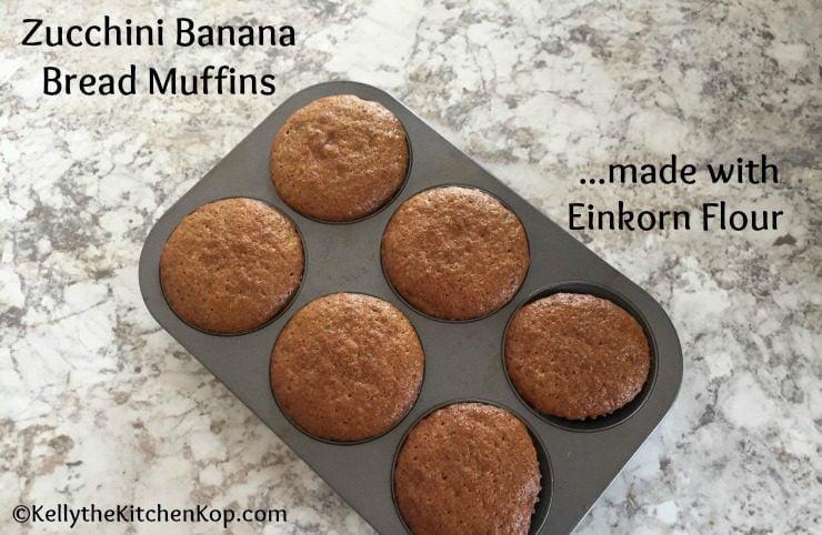 Zucchini Banana Bread Muffins with Einkorn Flour